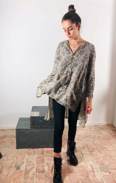 French Cotton Hand Block Print Shirt Koko