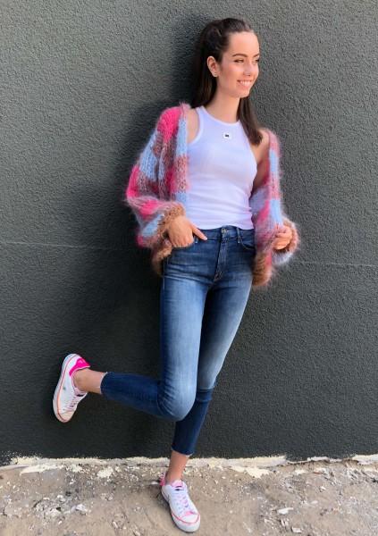 Cardigan Blocks short pink/lightblue/brown