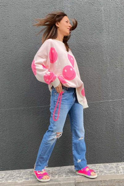 Pullover Smiley Allover White-Bubble