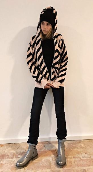Striped Zip Hoodie Powder Pink