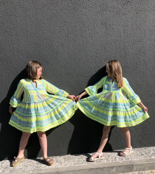 Ariel Dress Midi Kids Blue/Lime