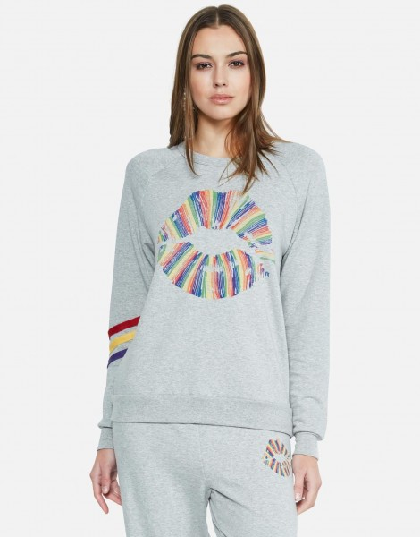 Avalon Pullover Stripes Rainbow Lip
