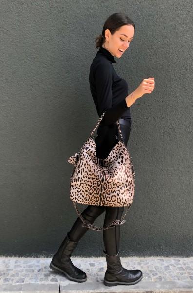 Shopper Kalbsfell Leopard grau