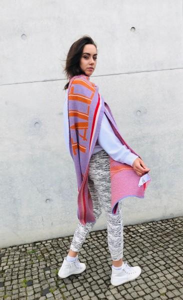 Schal 'No Talent But Happy' lilac breeze orange