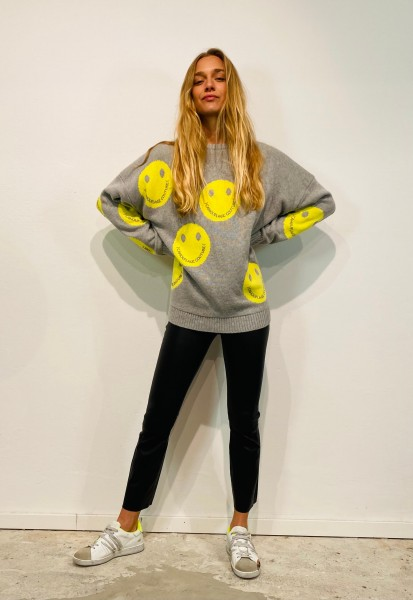 Pullover Smiley Allover Grey-Yellow