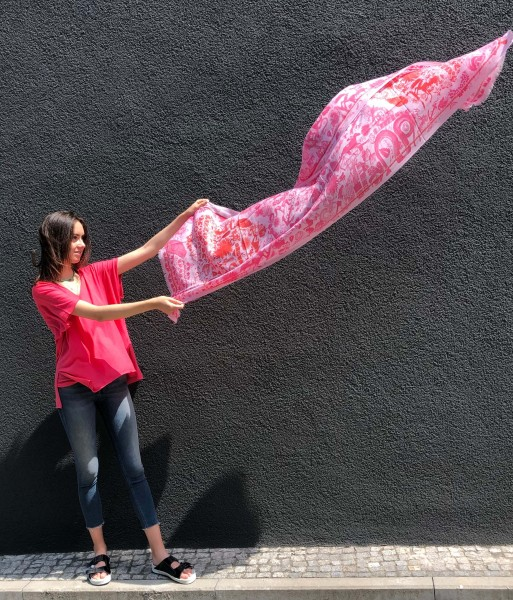 Cashmere Scarf Squareprint LOVE Pink