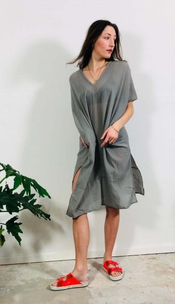 Side Slit Dress Gauze overcast