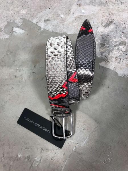 Leather Belt Python natur grau/rot