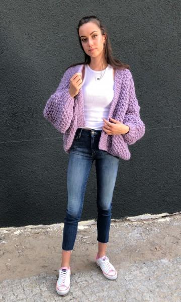 Cardigan Alpaca Rice Purple Short