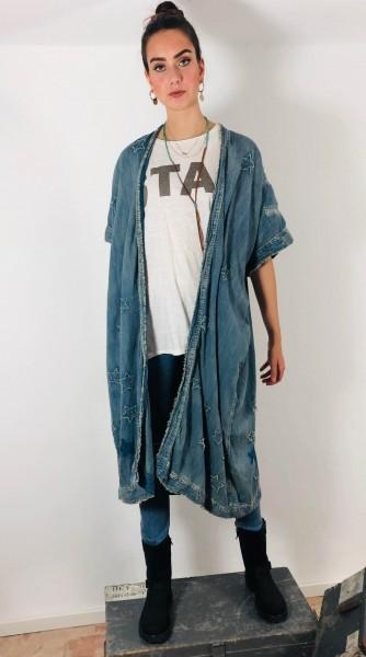 Cotton Denim Dashi Kimono with Handstitchiched Star