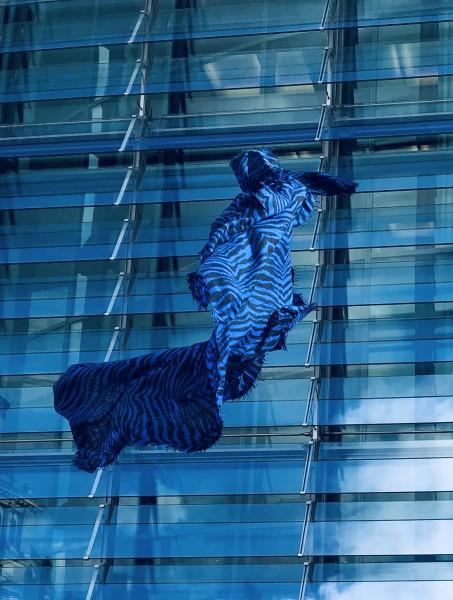 Cashmere Schal Zebra neon blue