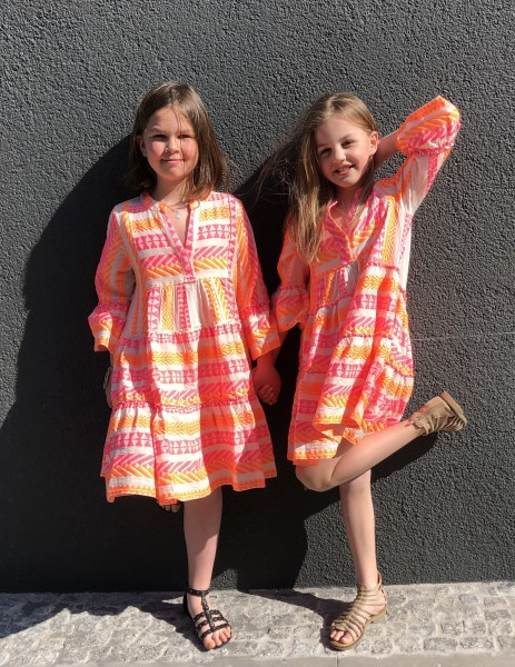 Ellastars Shortdress Kids Orange Neon Pink