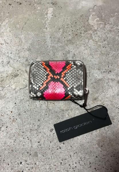 Leather Zipp Small Wallet Python natur pink/orange
