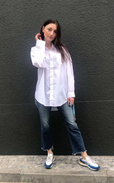 Button Front Shirt white