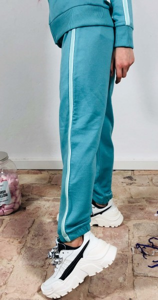 Girls Cuffed Pant Light Turquoise