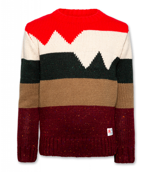 C-Neck coloured stripes soft Wool red