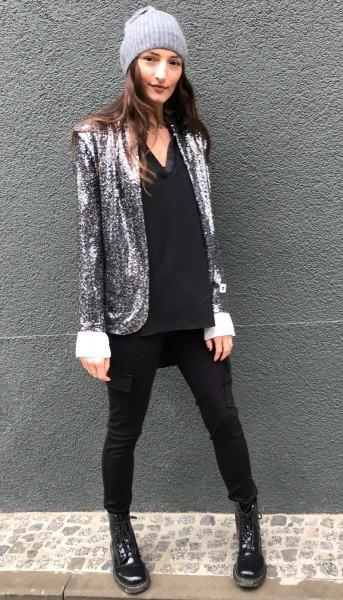 Sequin Blazer Silver