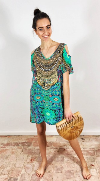 V-Cold Shoulder Dress Emerald