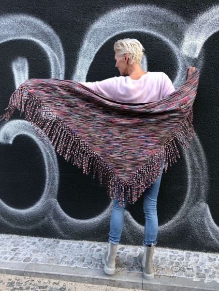 Triangle Fringes Pied Poncho